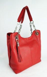 Dámská kožená kabelka FACEBAG AGATA - červená