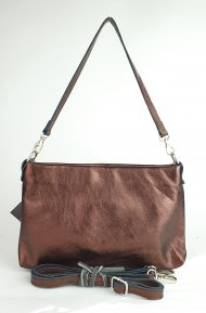 Dámská italská kožená kabelka 3118 - Metalická tmavá hnědá hladká