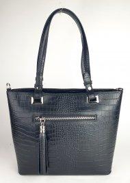 Dámská italská kožená kabelka 3249 - Černá *kroko*