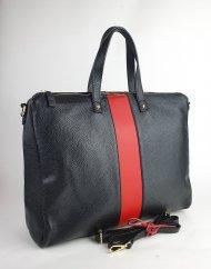 Dámská italská kožená kabelka 2997 - Černá + červená *dolaro*