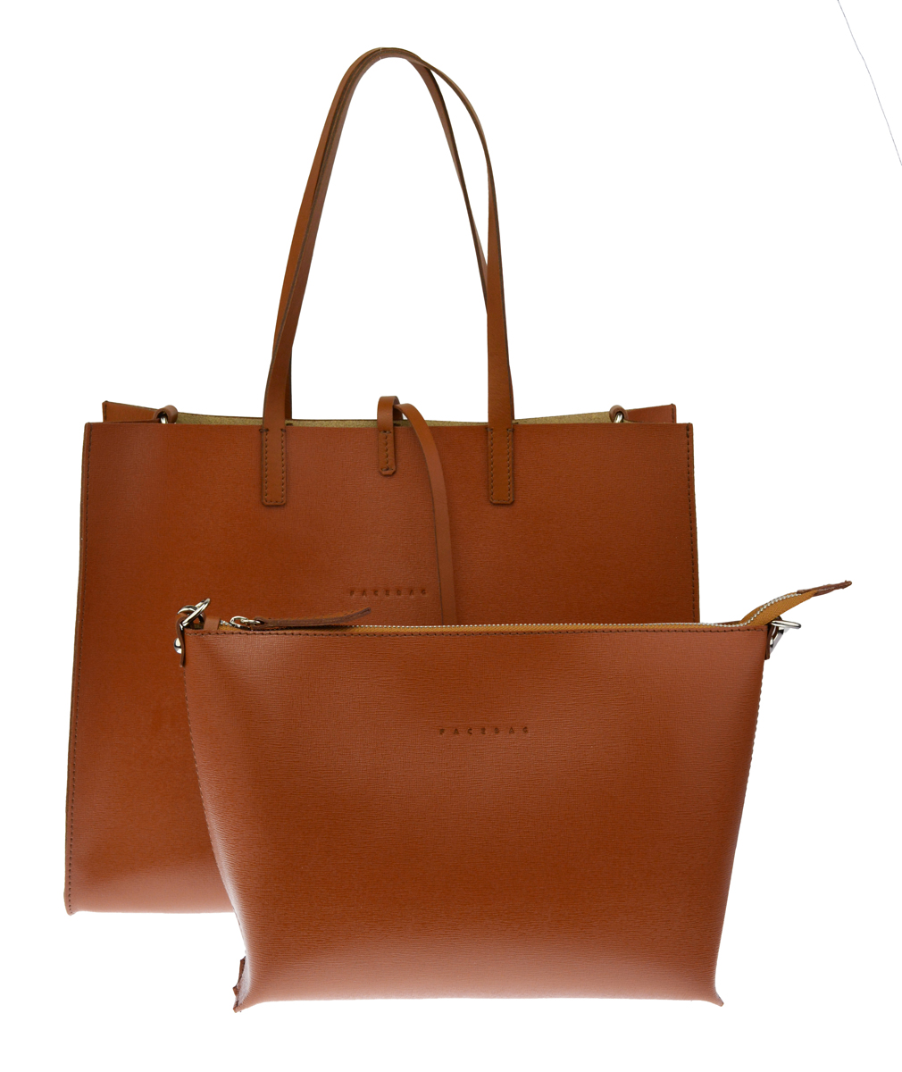 Dámská kožená kabelka FACEBAG 2v1 CHERI 1 - Cuoio