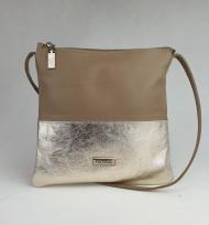 Dámská kožená kabelka FACEBAG - LOLA - Taupe + zlatá