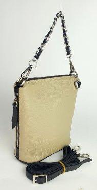 Dámská kožená kabelka FACEBAG EMMA I. - Béžová + tmavá hnědá *dolaro*