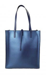 Dámská kožená kabelka FACEBAG REIMS - Metalická modrá