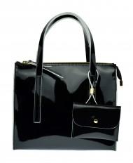 Dámská italská kožená kabelka RIPANI MUSA - Černá lak + bílá