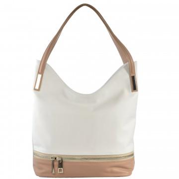 Dámská kožená kabelka FACEBAG GRETA - Bílá + pudrová