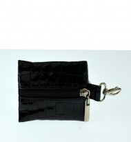 Kožená klíčenka FACEBAG 6052 - Černá kroko lak