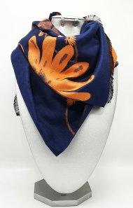 Dámská zimní šála ze směsi kašmíru a viskózy modrá-oranžová