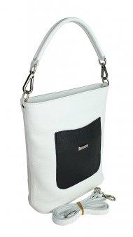 Dámská kožená kabelka FACEBAG LINA - Bílá + černá *dolaro*