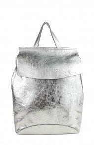 Designový kožený batůžek FACEBAG KENNY 8018 - Stříbrná hladká