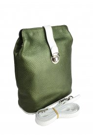 Dámská kožená kabelka FACEBAG ANNA - Metalická zelená + bílá *dolaro*