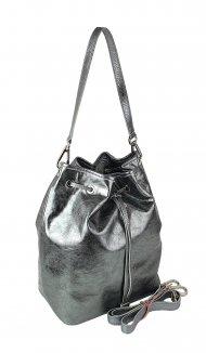 Dámská kožená kabelka FACEBAG HARVY - Stříbrná hladká