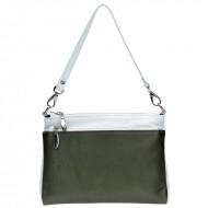 Kožená crossbody kabelka Ada zeleno-bílá