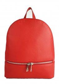 Designový kožený batůžek FACEBAG CANDY - Červená hladká