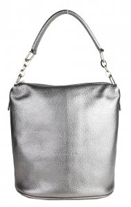 Kožená kabelka FACEBAG MOLY - Stříbrná *dolaro*