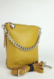 Dámská kožená kabelka FACEBAG EMMA I. - Tmavá žlutá *dolaro*