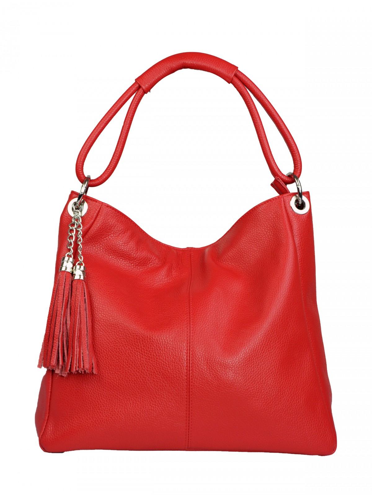 Dámská kožená kabelka Alessandra - Červená