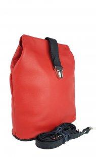 Dámská kožená kabelka FACEBAG ANNA - Červená + černá hladká