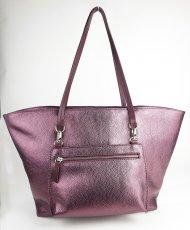 Dámská kožená kabelka FACEBAG NICE - Metalická vínová *dolaro*
