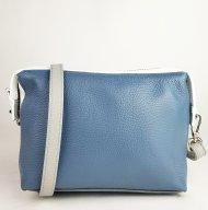 Dámská italská kožená kabelka 3045 - Modrá + bílá + šedá *dolaro*