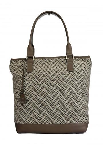 Dámská látková kabelka FACEBAG JANA - Béžová vlna + taupe kůže
