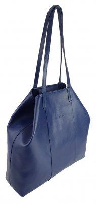 Dámská kožená kabelka FACEBAG MIA - Tmavá modrá hladká