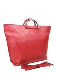 Dámská kožená kabelka FACEBAG TALIA - Metalická červená