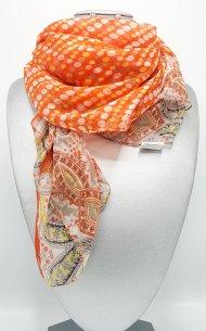 Dámský šátek z viskózy oranžový s motivem