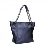 Dámská kožená kabelka FACEBAG DORIS 1 - Metalická modrá *dolaro*