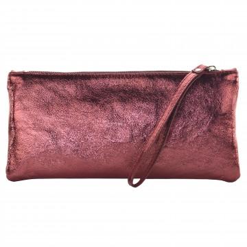 Italská kožená kabelka ESTER - Metalická bordo