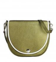 Dámská kožená kabelka FACEBAG LILI 1 - Metalická zelená + bílá
