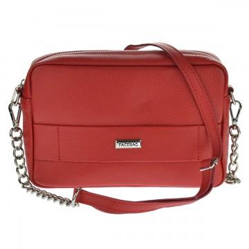Dámská kožená kabelka FACEBAG CASSETTA - Červená