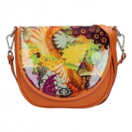 Dámská kožená kabelka FACEBAG LILI - Oranžová s barevnou lakovanou klopnou