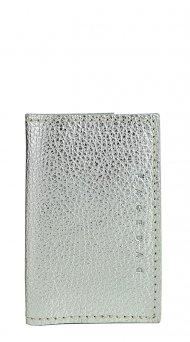 Kožené pouzdro na doklady FACEBAG 115057 - Stříbrná metalická