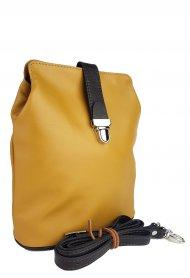 Dámská kožená kabelka FACEBAG ANNA S. - Tmavá žlutá + hnědá hladká