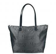 Dámská látková kabelka S.Fiorentino - SF1-G538 SB - Metalická šedá s potiskem písmen