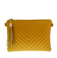 Dámská kožená kabelka - psaníčko prošívané 2934  žluté