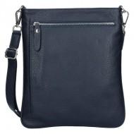 Pánská kožená taška FACEBAG IVO - Tmavá modrá