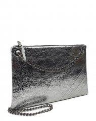 Elegantní dámská kožená kabelka FACEBAG ERIN - Tmavá stříbrná