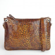 Dámská kožená kabelka FACEBAG CANNET - Hnědá had lak