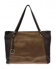 Kožená kabelka FACEBAG ROSA - metalická hnědá + tmavě hnědá