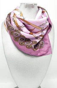 Dámský hedvábný šátek lila s motivem