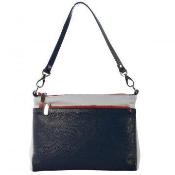 Dámská kožená kabelka FACEBAG ADA - Modrá + bílá+ červená