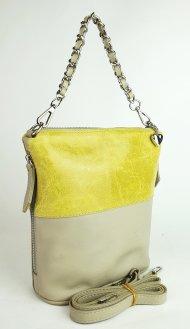 Dámská kožená kabelka FACEBAG EMMA II. - Béžová + žlutá