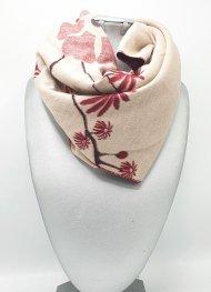Dámská zimní šála ze směsi bavlny a viskózy tmavě červená s květy oboustranná