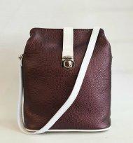 Dámská kožená kabelka FACEBAG ANNA - Metalická vínová + bílá