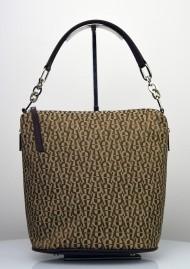 Dámská kožená kabelka FACEBAG MOLY - Kombinace látky a kůže - Béžová