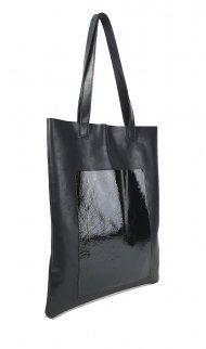 Dámská kožená kabelka FACEBAG ELSA - Černá hladká s lakovanou kapsou