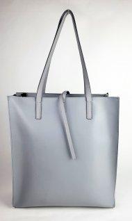 Dámská kožená kabelka FACEBAG REIMS - Šedá + zelená oboustranná
