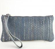 Dámská kožená taštička do ruky FACEBAG ELEN-1 větší - Pletené stříbro